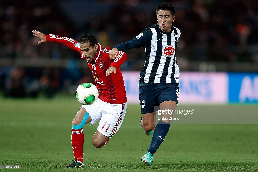 Darvin Chavez (R) of Monterrey challenges Walid Soliman of Al-Ahly SC during the FIFA Club World Cup 3rd Place Match between Al-Ahly SC and CF Monterrey at International Stadium Yokohama on December 16, 2012 in Yokohama, Japan.