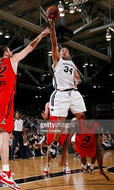 Darvin Ham of the Austin Toros shoots over Mike Taylor of the Idaho Stampede at the Austin Convention Center April 21 2008 in Austin Texas NOTE TO...