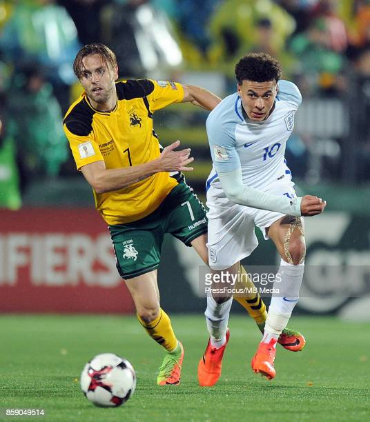 Darvydas Sernas Dele Alli during the FIFA 2018 World Cup Qualifier between Lithuania and England on October 8 2017 in Vilnius Lithuania