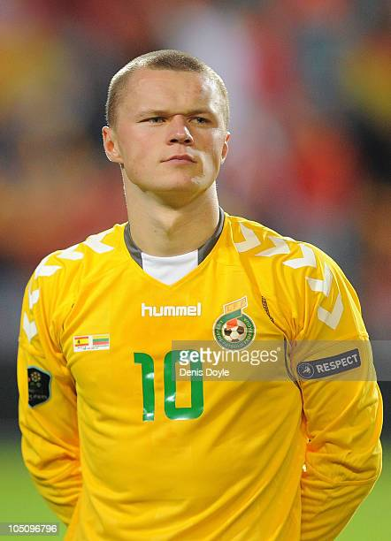 Darvydas Sernas of Lithuania linesup before the the EURO 2012 Qualifying Group I match between Spain and Lithuania at the Helmantico stadium on...