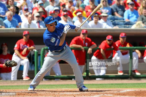Darwin Barney of the Blue Jays at bat during the spring training game between the Toronto Blue Jays and the Philadelphia Phillies on March 09 2017 at...