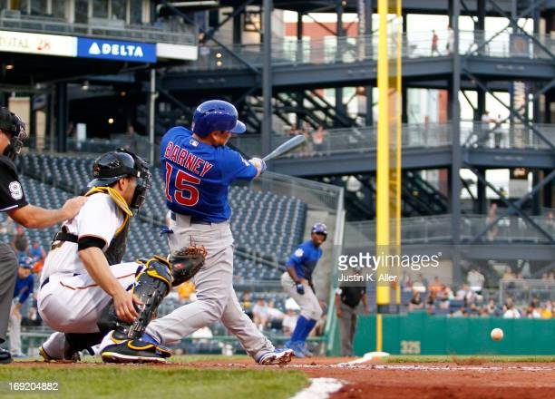 Darwin Barney of the Chicago Cubs hits an RBI single in the second inning against the Pittsburgh Pirates during the game on May 21, 2013 at PNC Park...