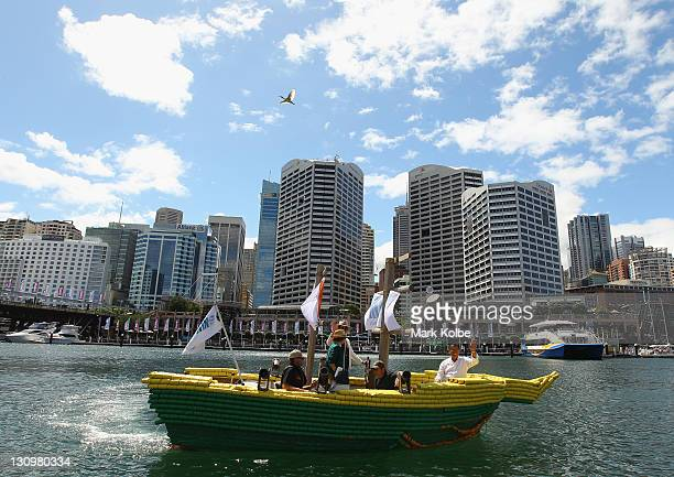 Darwin Beer Can Boat sails in Darling Harbour on October 31 in Sydney Australia Darwin has been named as one of Lonely Planet's top ten cities in the...