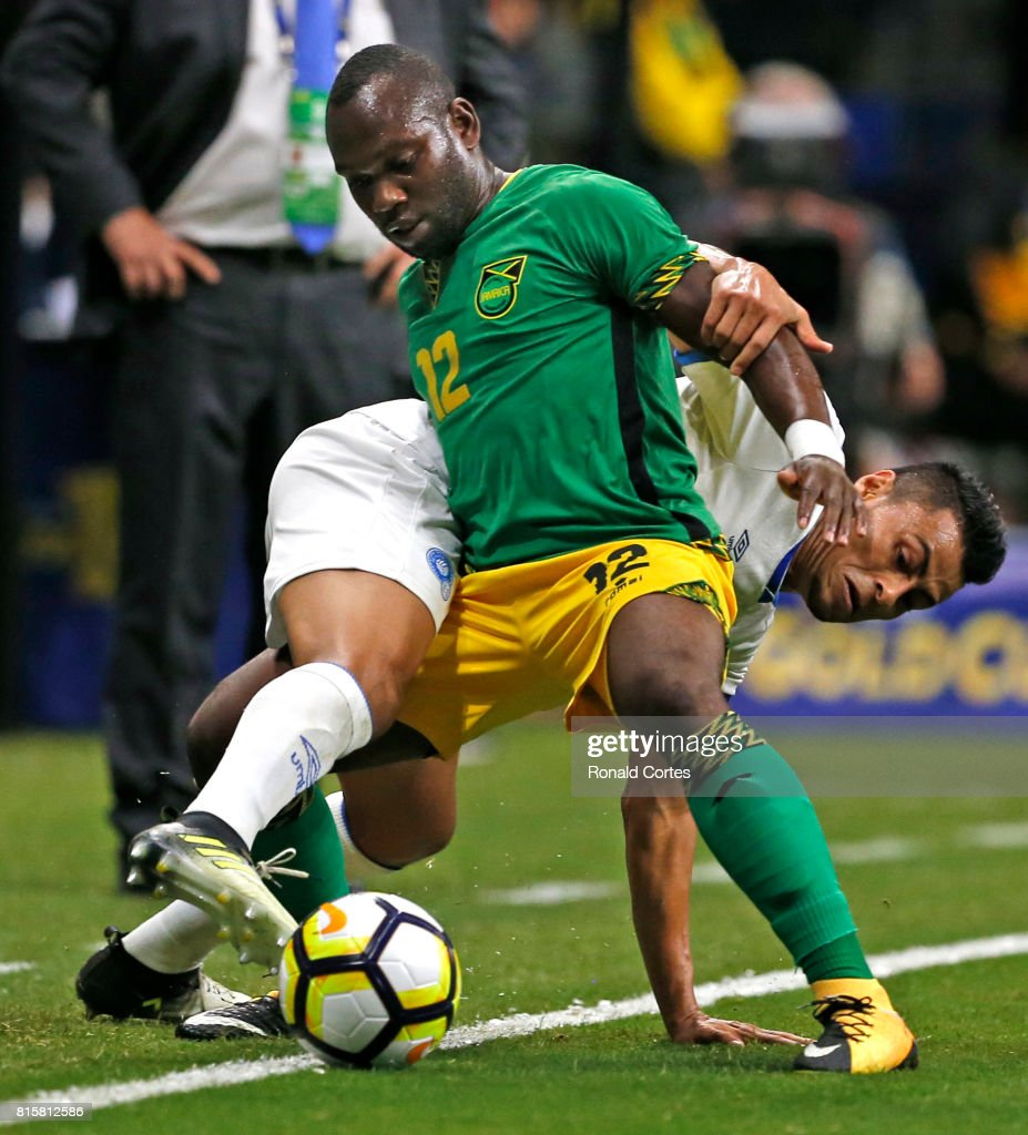 Darwin Ceren #7 of El Salvador tries to take the ball away from Michael Binns #12 of Jamaica during the 2017 CONCACAF Gold Cup at Alamodome on July 16, 2017 in San Antonio,Texas.