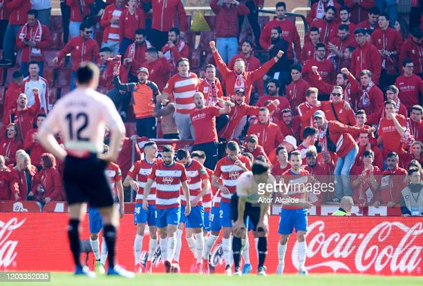 Darwin Machis of Granada CF celebrates after scoring goal during the Liga match between Granada CF and RCD Espanyol at Nuevo Estadio de Los Carmenes...