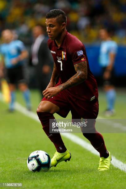 Darwin Machis of Venezuela controls the ball during the Copa America Brazil 2019 group A match between Brazil and Venezuela at Arena Fonte Nova on...