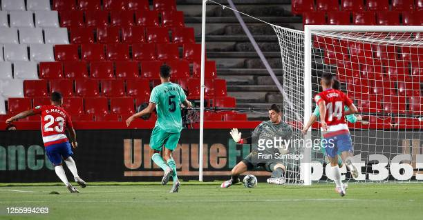 Darwin Machís of Granada scores a goal during the Liga match between Granada CF and Real Madrid CF at on July 13, 2020 in Granada, Spain. Football...