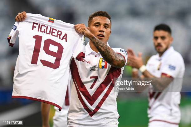 Darwin Machís of Venezuela celebrates a scored goal against Bolivia during a match between Bolivia and Venezuela at Mineirao Stadium on June 22, 2019...