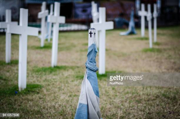 Darwin Military Cemetery on East Falkland in the Falkland Islands known in Spanish as Malvinas on the South Atlantic on April 2 2018 More than 200...