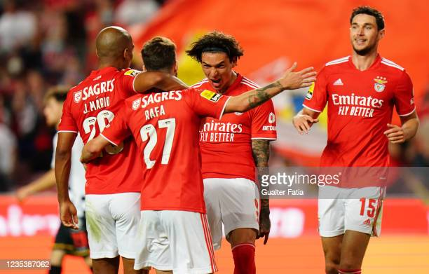 Darwin Nunez of Benfica celebrates with teammates after scoring his team's third goal during the Liga Bwin match between SL Benfica and Boavista FC...