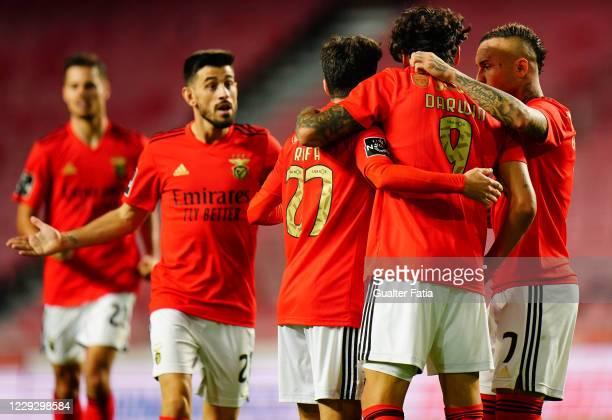Darwin Nunez of SL Benfica celebrates with teammates after scoring a goal during the Liga NOS match between SL Benfica and Belenenses SAD at Estadio...