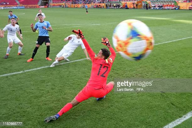 Darwin Nunez of Uruguay scores his team's first goal past Cameron Brown of New Zealand during the 2019 FIFA U20 World Cup group C match between New...