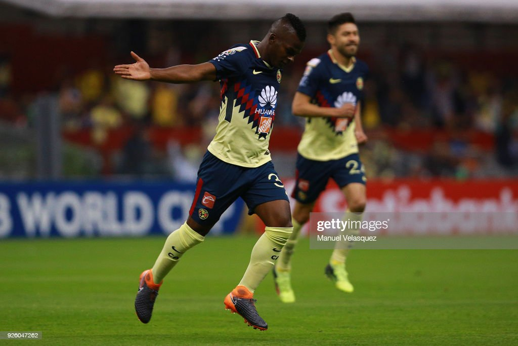 Darwin Quintero of America celebrates after scoring the first goal of his team during the match between America and Saprissa as part of the round of 16th of the CONCACAF Champions League at Azteca Stadium on February 28, 2018 in Mexico City, Mexico.