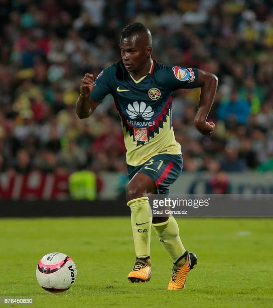 Darwin Quintero of America plays the ball during the 17th round match between Santos Laguna and America as part of the Torneo Apertura 2017 Liga at...