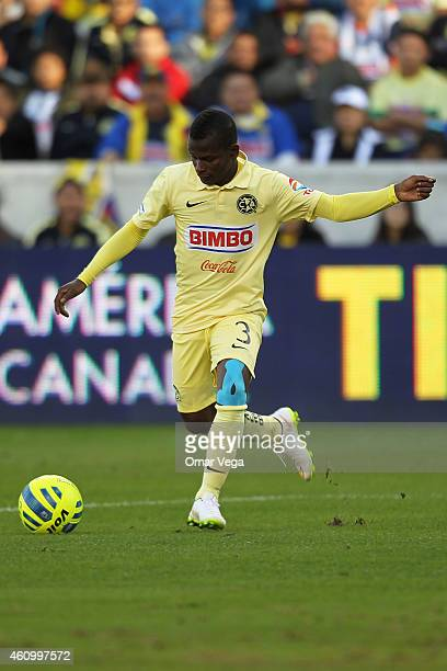 Darwin Quintero of America takes a shot during a friendly match between America and Monterrey at BBVA Compass Stadium on January 03 2015 in Houston...