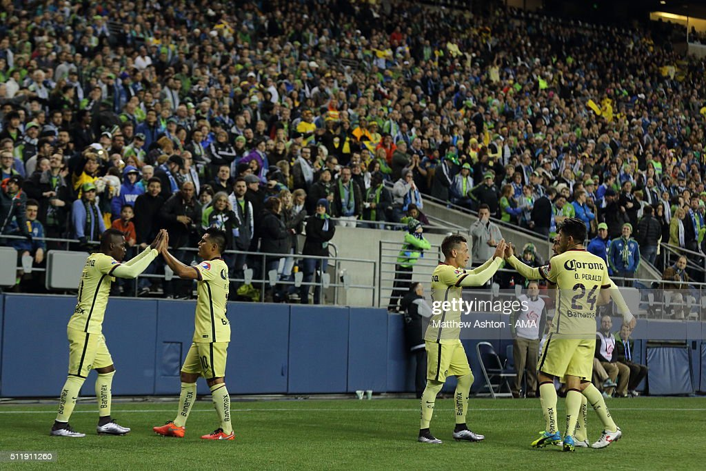 Darwin Quintero of Club America celebrates after scoring a goal to make it 1-1 during the CONCACAF Champions League match between Seattle Sounders and Club America at CenturyLink Field on February 23, 2016 in Seattle, Washington.