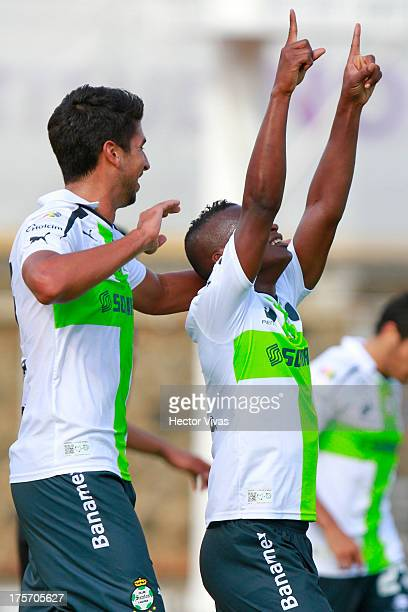 Darwin Quintero of Santos celebrates a scored goal against Zacatepec during a match between Zacatepec and Santos as part of the Copa MX at Centenario...