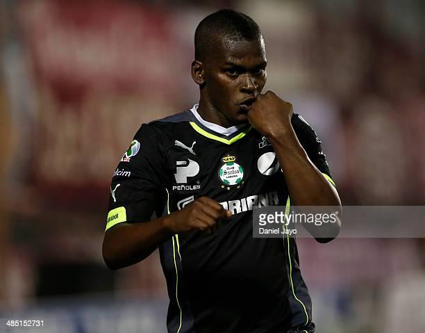 Darwin Quintero of Santos Laguna celebrates after scoring during a match between Lanus and Santos Laguna as part of Copa Bridgestone Libertadores at...