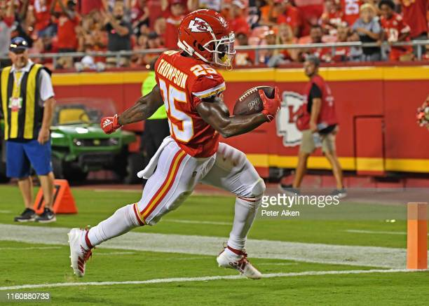 Darwin Thompson of the Kansas City Chiefs rushes in for a touchdown during the third quarter against the Cincinnati Bengals at Arrowhead Stadium on...