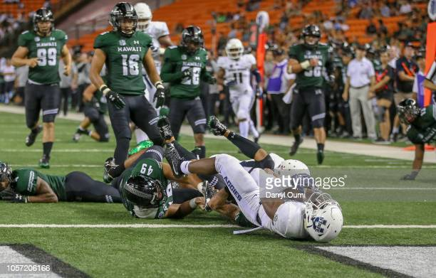 Darwin Thompson of the Utah State Aggies falls into the end zone to score a touchdown during the third quarter otg against the Hawaii Rainbow...
