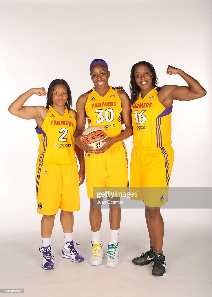 Darxia Morris #2, Nneka Ogwumike #30 and Ebony Hoffman #16 of the Los Angeles Sparks pose for a portrait during media day at Los Angeles Southwest College on May 14, 2012 in Los Angeles, California.