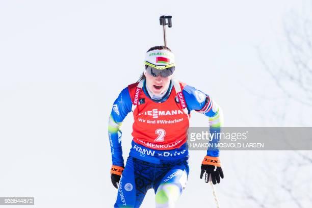 Darya Domracheva from Belarus competes to win the IBU Biathlon World Cup Women's 10 km Pursuit event in Holmenkollen Oslo on March 18 2018 / AFP...