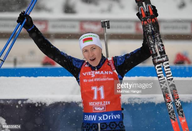 Darya Domracheva of Belarus celebrates after winning the 7.5 km Women's Sprint during the BMW IBU World Cup Biathlon on December 8, 2017 in...