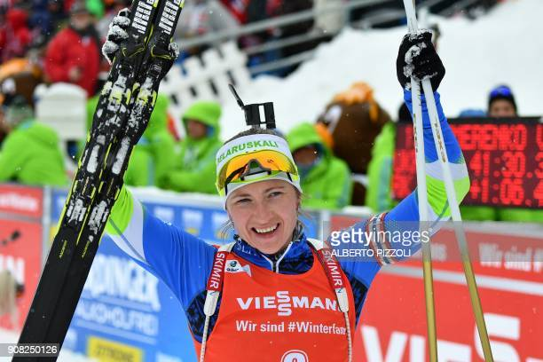 Darya Domracheva of Belarus celebrates after winning the Women's 125 km Mass Start Competition of the IBU World Cup Biathlon in Anterselva on January...