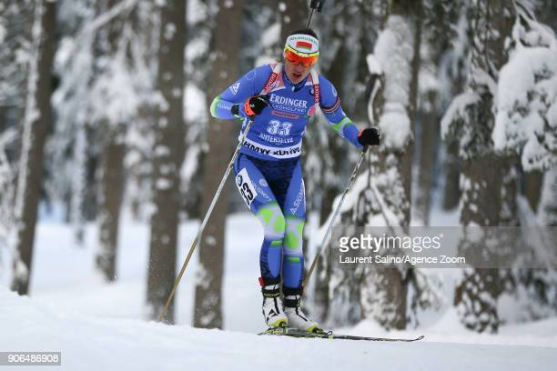 Darya Domracheva of Belarus competes during the IBU Biathlon World Cup Women's Sprint on January 18 2018 in AntholzAnterselva Italy