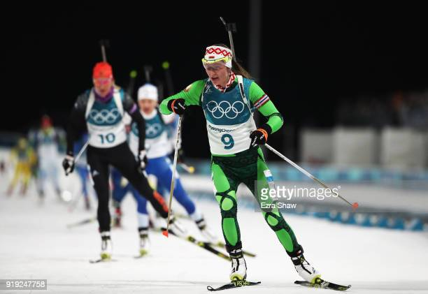 Darya Domracheva of Belarus competes during the Women's 125km Mass Start Biathlon on day eight of the PyeongChang 2018 Winter Olympic Games at...