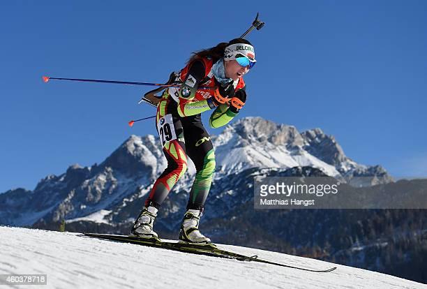 Darya Domracheva of Belarus competes during the women's 75 km sprint event during the IBU Biathlon World Cup on December 12 2014 in Hochfilzen Austria