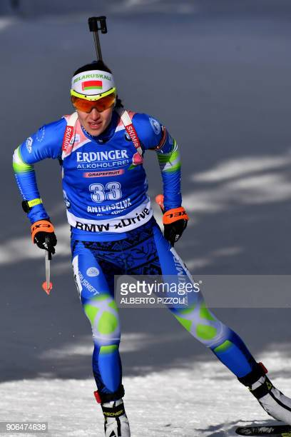 Darya Domracheva of Belarus competes in the Women's 75km sprint competition of the IBU World Cup Biathlon in Anterselva on January 18 2018 Tiril...