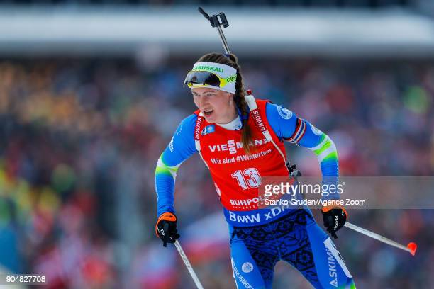 Darya Domracheva of Belarus in action during the IBU Biathlon World Cup Men's and Women's Mass Start on January 14 2018 in Ruhpolding Germany