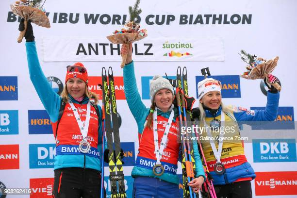 Darya Domracheva of Belarus takes 1st place Anastasiya Kuzmina of Slovakia takes 2nd place Kaisa Makarainen of Finland takes 3rd place during the IBU...