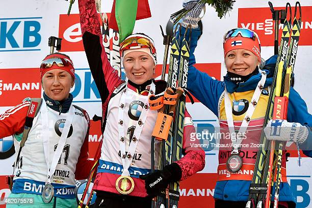 Darya Domracheva of Belarus takes 1st place Daria Virolaynen of Russia takes 2nd place Kaisa Makarainen of Finland takes 3rd place during the IBU...