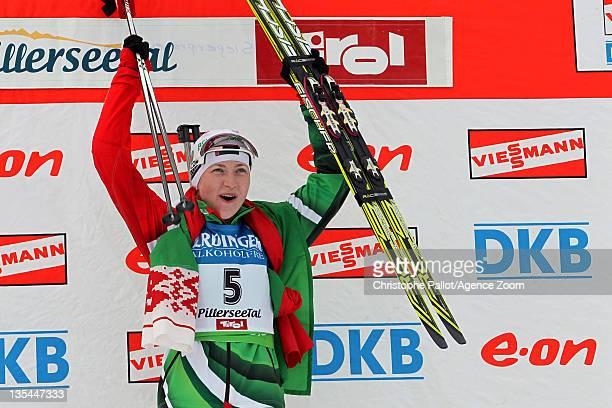 Darya Domracheva of Belarus takes 1st place during the IBU Biathlon World Cup WomenÕs Pursuit on December 10, 2011 in Hochfilzen, Austria.