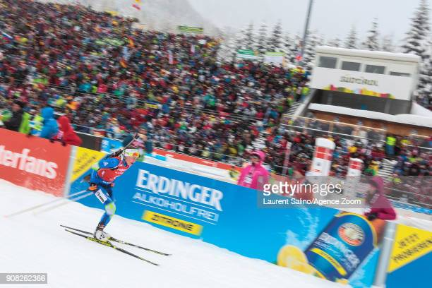 Darya Domracheva of Belarus takes 1st place during the IBU Biathlon World Cup Men's and Women's Mass Start on January 21 2018 in AntholzAnterselva...