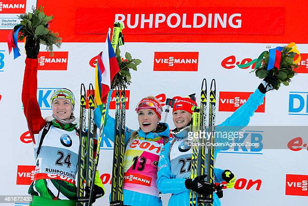 Darya Domracheva of Belarus takes 2nd place , Gabriela Soukalova of the Czech Republic takes 1st place, Veronika Vitkova of the Czech Republic takes...