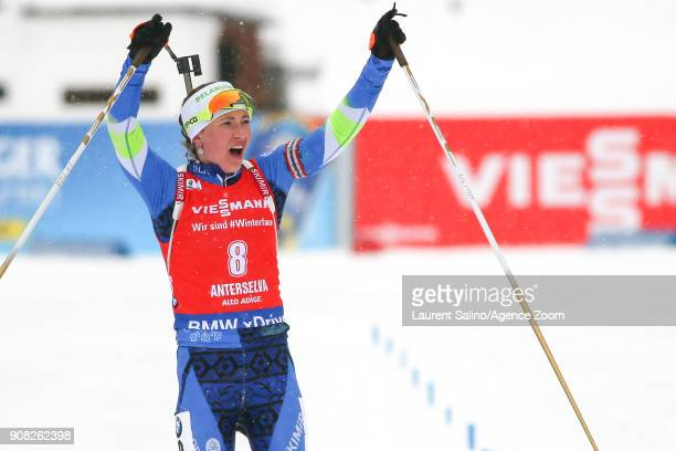 Darya Domracheva of Belarus takes joint 1st place during the IBU Biathlon World Cup Men's and Women's Mass Start on January 21 2018 in...