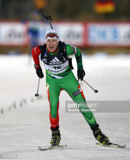 Darya Domracheva of Belaruss competes at the women's 15km individual race during the E.ON IBU World Cup Biathlon at the Ostersund Ski Stadium on...
