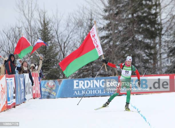 Darya Domratcheva of Belarus celebrates after the women's pursuit during the EON IBU Biathlon World Cup on February 6 2011 in Presque Isle United...