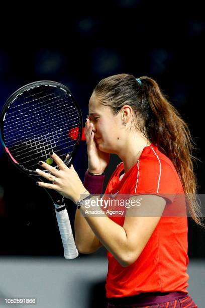 Darya Kasatkina of Russia celebrates after winning against Ons Jabeur of Tunisia during the women's singles tennis final match the 2018 VTB Kremlin...