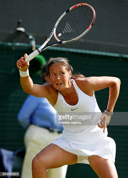 Darya Kasatkina of Russia in action against Venus Williams of USA on day five of the 2016 Wimbledon Championships at the All England Lawn and Croquet...