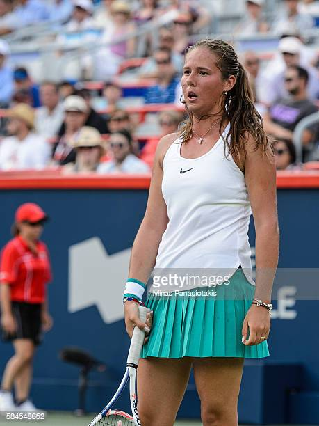 Darya Kasatkina of Russia reacts after losing a point to Angelique Kerber of Germany during day five of the Rogers Cup at Uniprix Stadium on July 29...