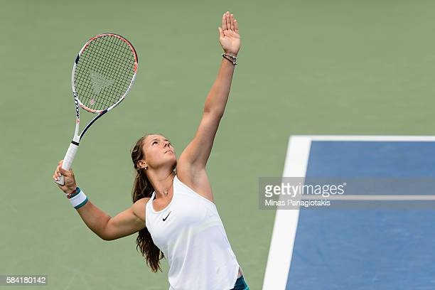 Darya Kasatkina of Russia serves against Roberta Vinci of Italy during day four of the Rogers Cup at Uniprix Stadium on July 28 2016 in Montreal...