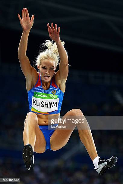 Darya Klishina of Russia competes during the Women's Long Jump Qualifying Round on Day 11 of the Rio 2016 Olympic Games at the Olympic Stadium on...