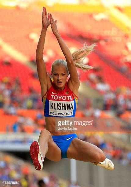 Darya Klishina of Russia competes in the Women's Long Jump qualification during Day One of the 14th IAAF World Athletics Championships Moscow 2013 at...