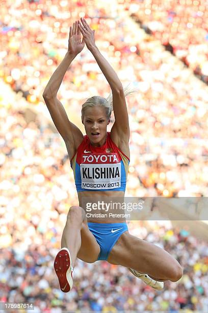 Darya Klishina of Russia competes in the Women's Long Jump final during Day Two of the 14th IAAF World Athletics Championships Moscow 2013 at...