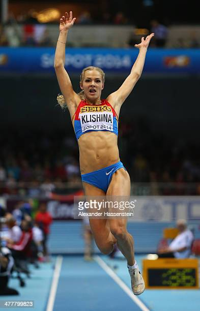 Darya Klishina of Russia competes in the Women's Long Jump Final during day three of the IAAF World Indoor Championships at Ergo Arena on March 9...