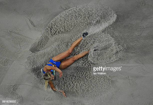 Darya Klishina of Russia competes in the Women's Long Jump Final on Day 12 of the Rio 2016 Olympic Games at the Olympic Stadium on August 17 2016 in...